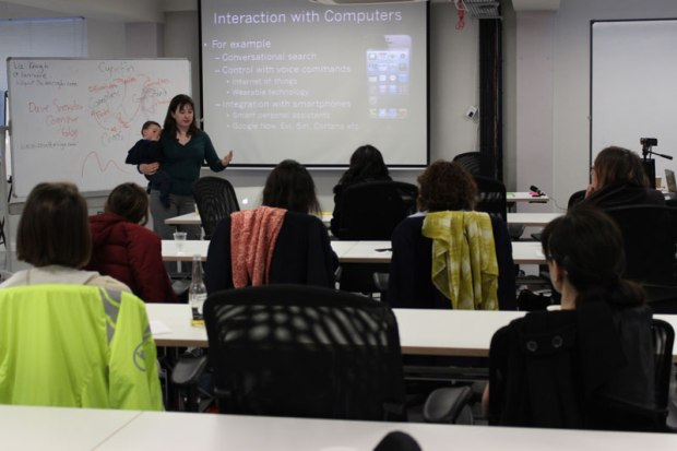 Catherine Breslin talks at Thursday's Women in Data meetup